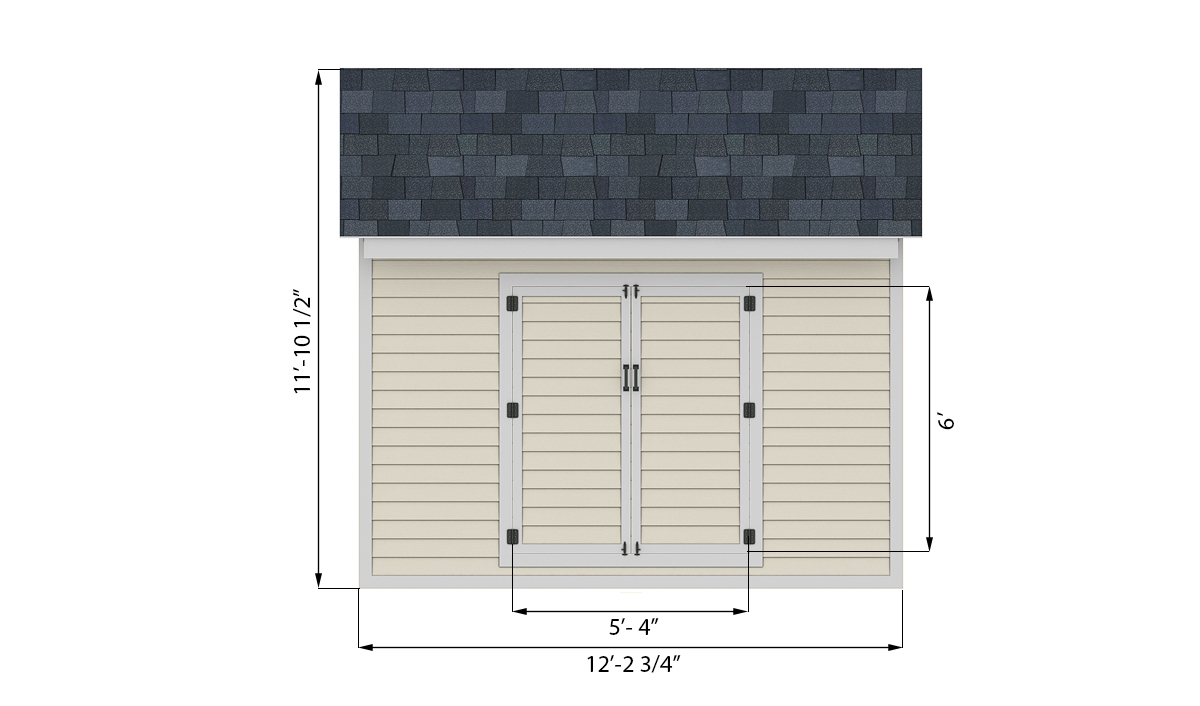 10x12 storage shed front side preview