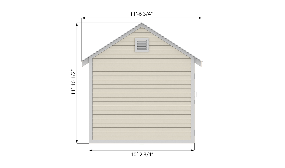 10x12 storage shed side preview