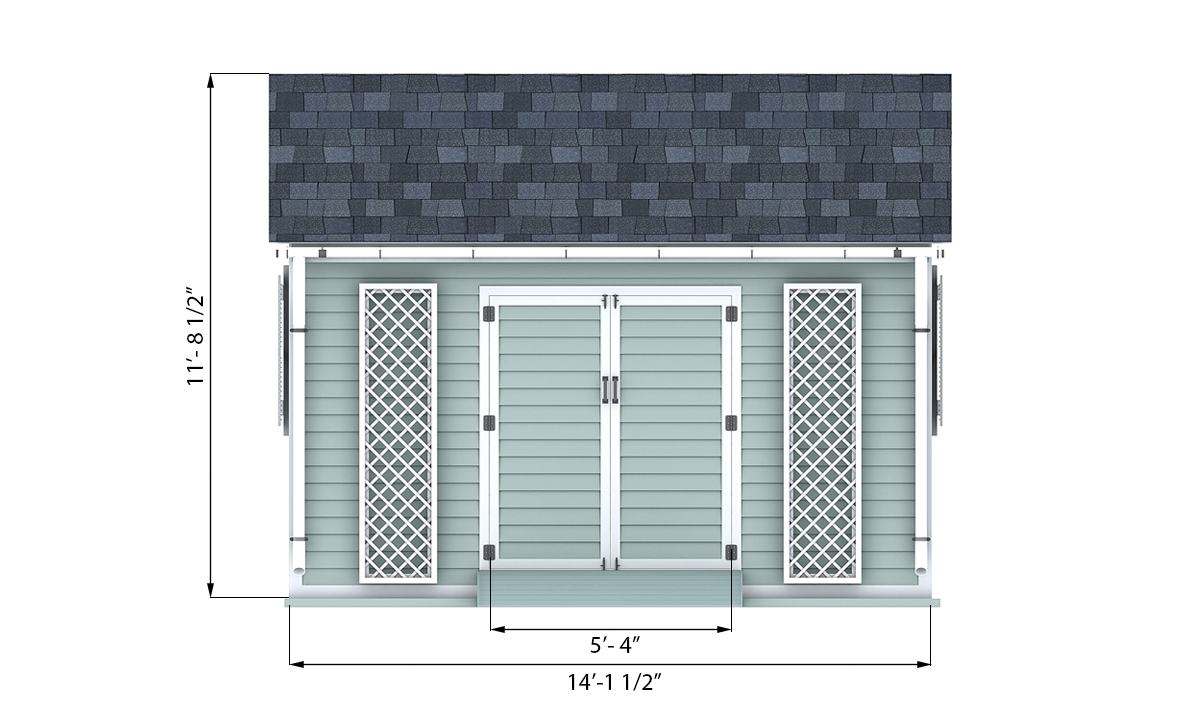 10x14 garden shed front side preview