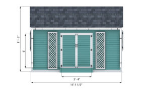 10x16 garden shed front side preview