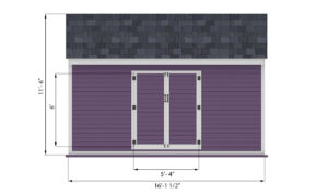 10x16 storage shed front side preview