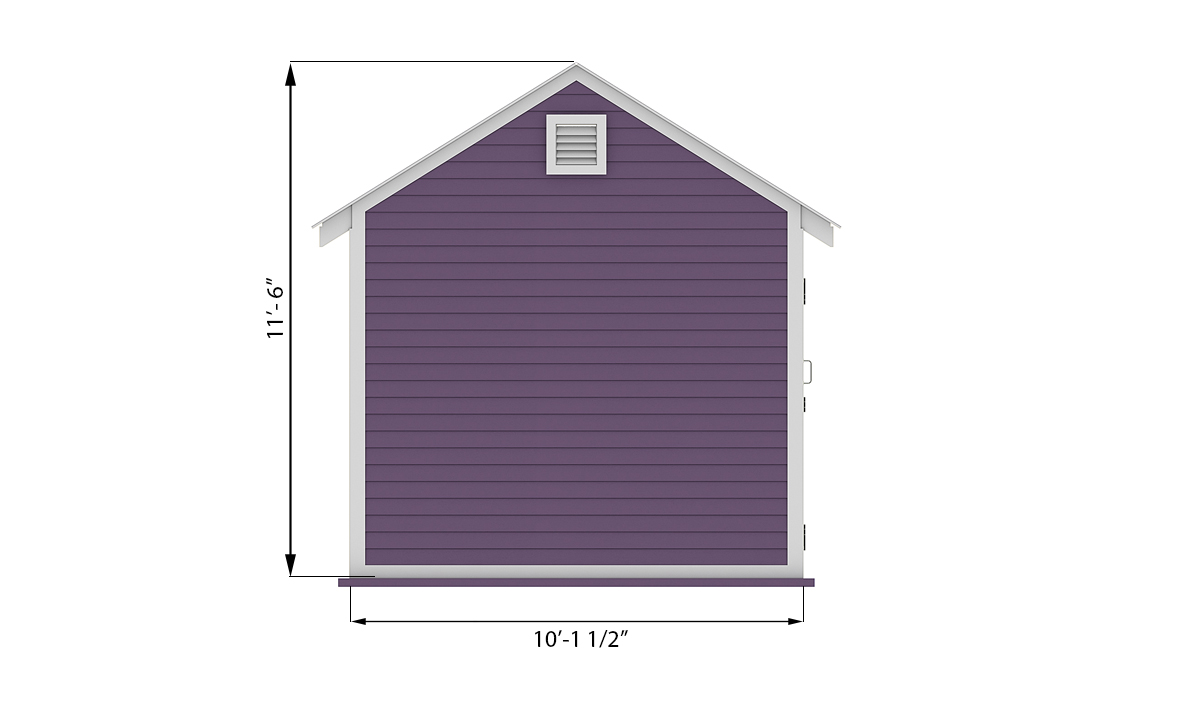 10x16 storage shed side preview