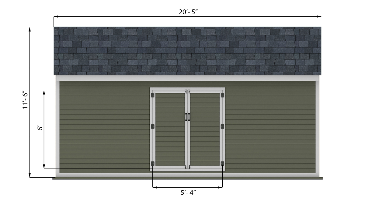 10x20 storage shed front side preview