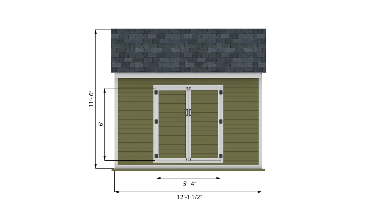 12x12 storage shed front side preview