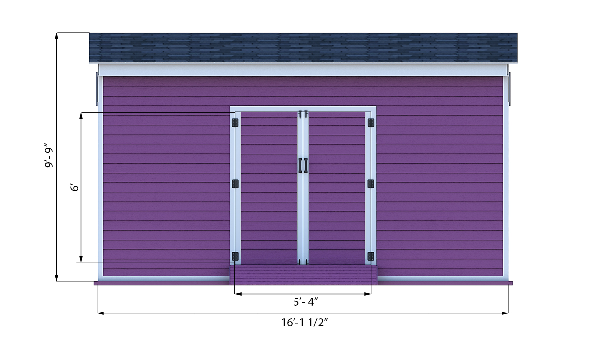 12x16 storage shed front side preview