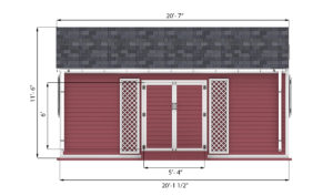 12x20 garden shed front side preview