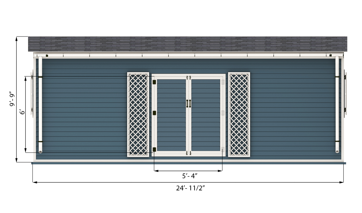 12x24 garden shed front side preview