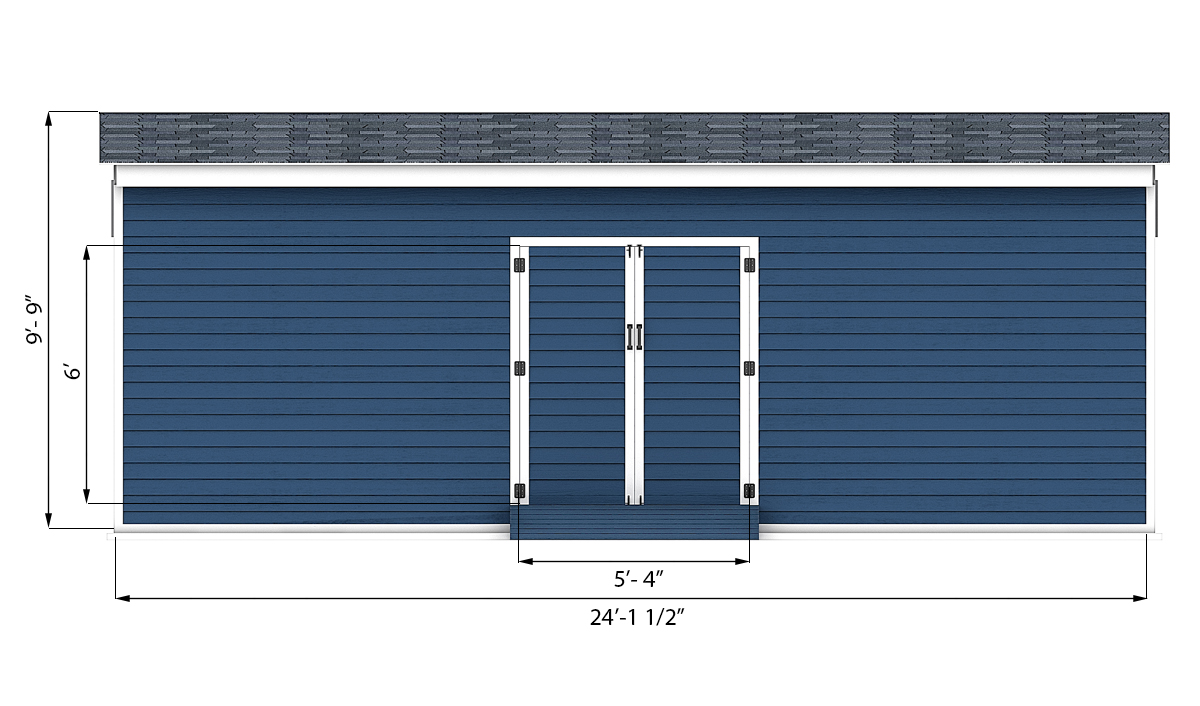 12x24 storage shed front side preview