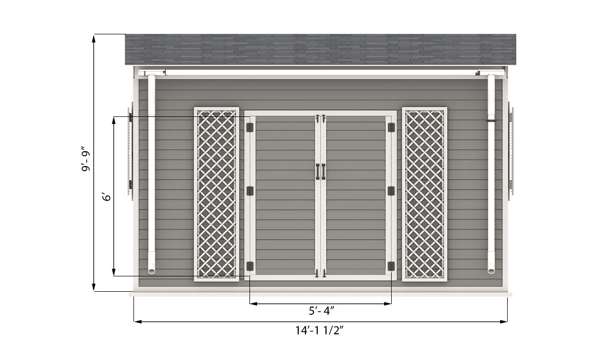 14x14 garden shed front side preview