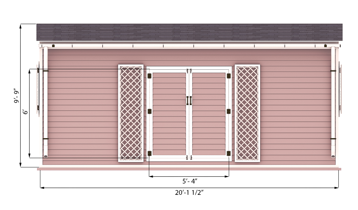 14x20 garden shed front side preview