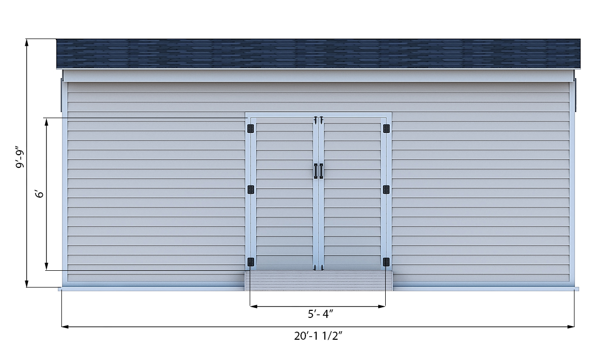 14x20 storage shed front side preview