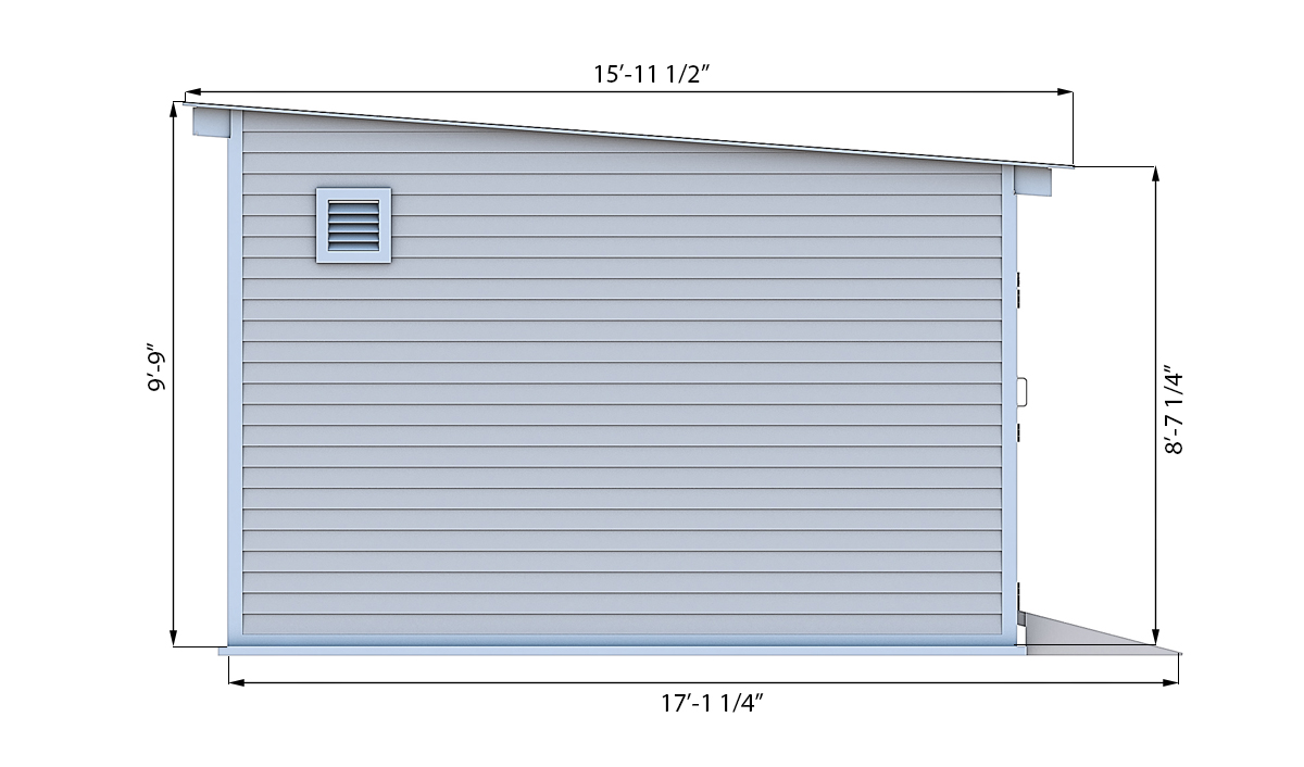 14x20 storage shed side preview
