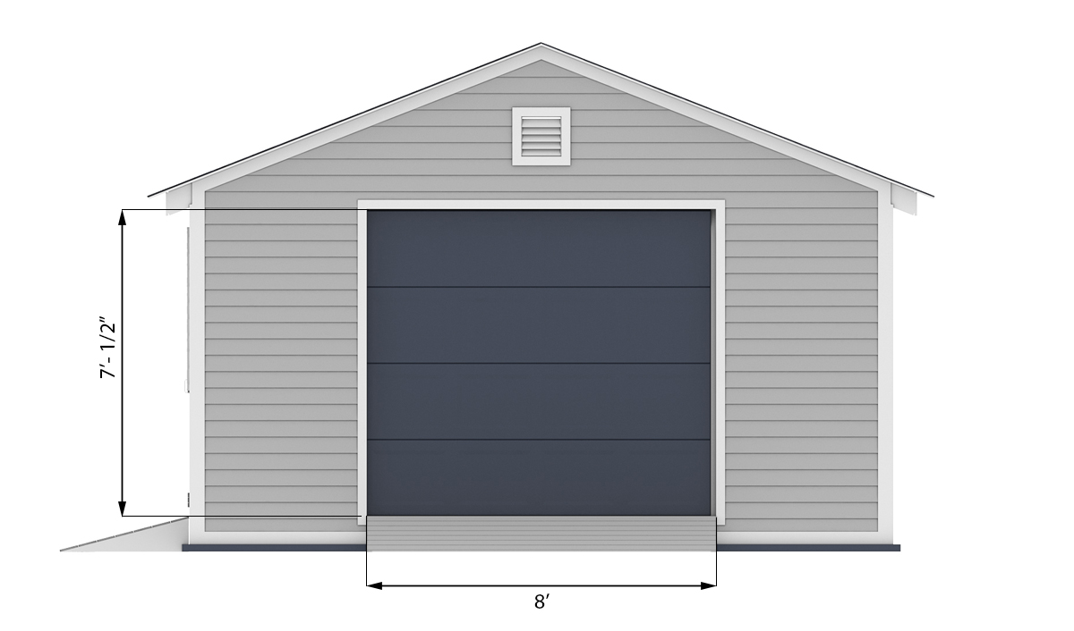 16x20 garage shed front side preview