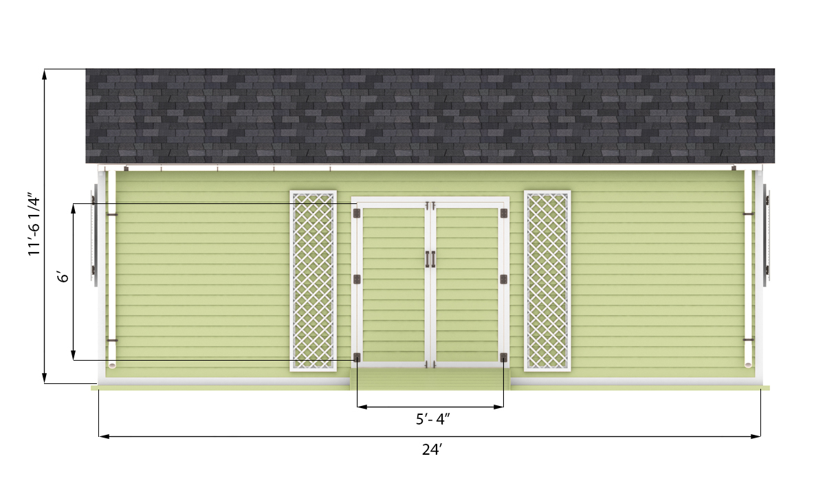 16x24 garden shed front side preview