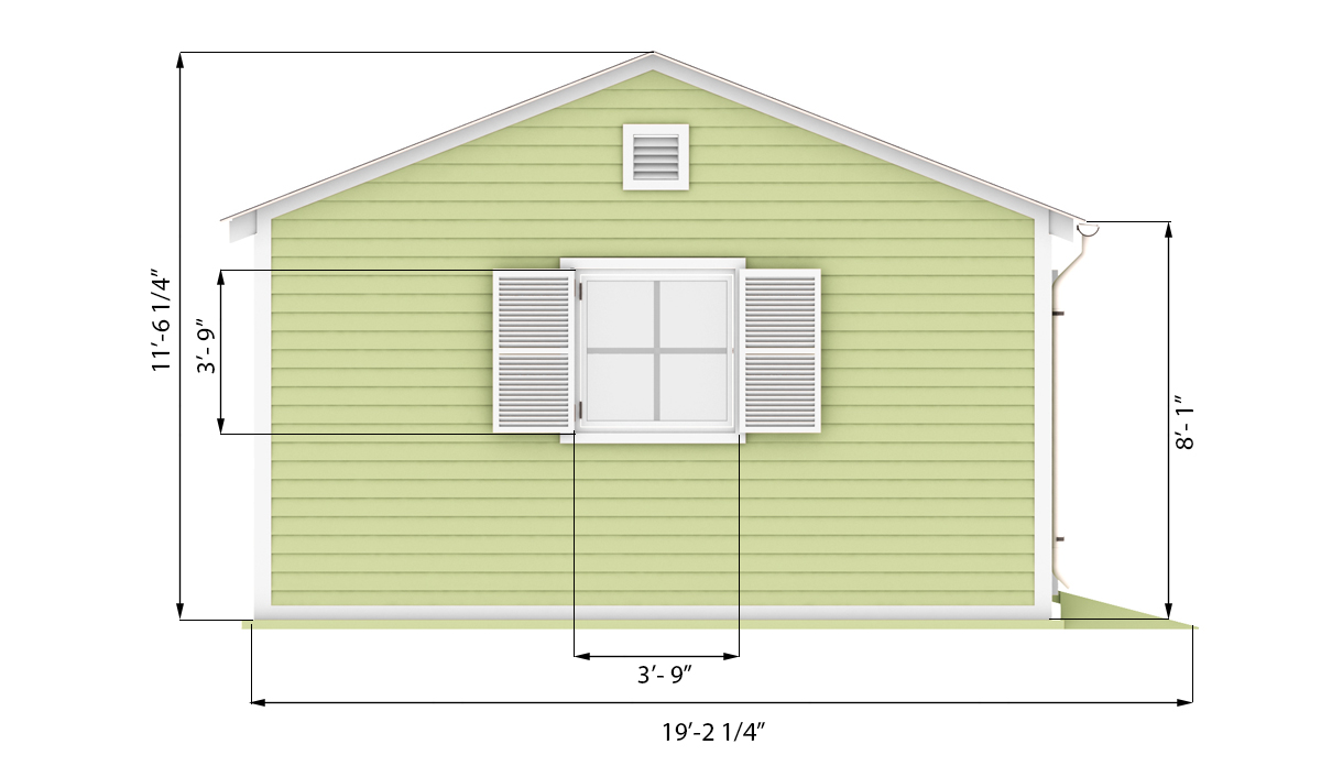 16x24 garden shed side preview
