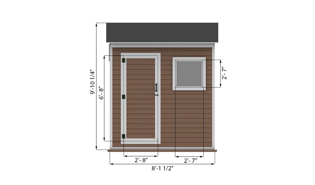 4x8 storage shed front side preview