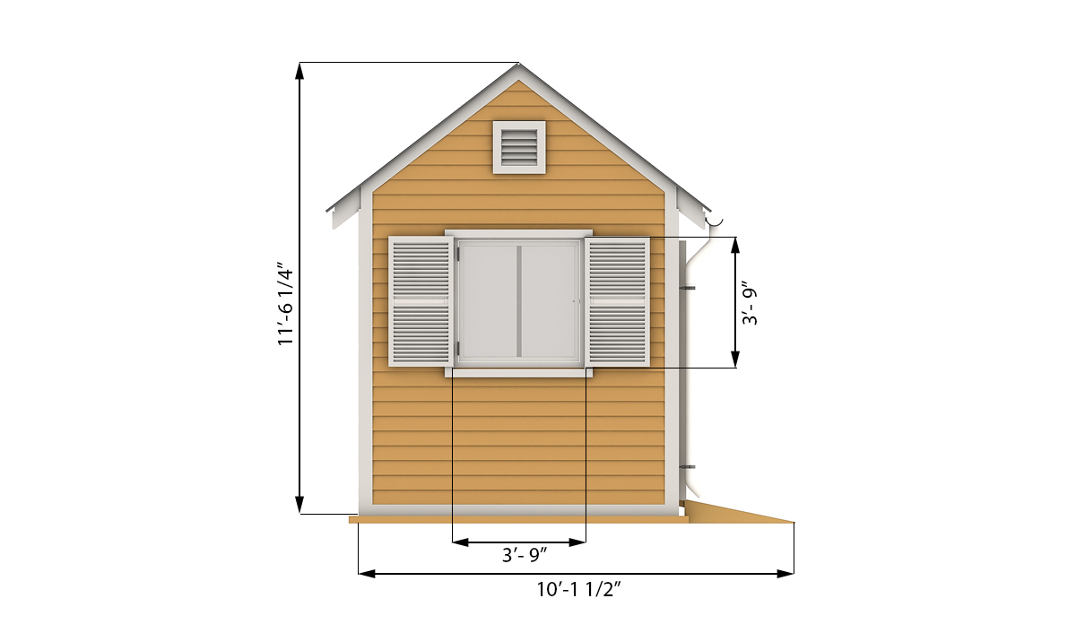 8x10 garden shed side preview