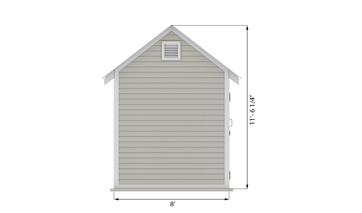 8x8 storage shed side preview