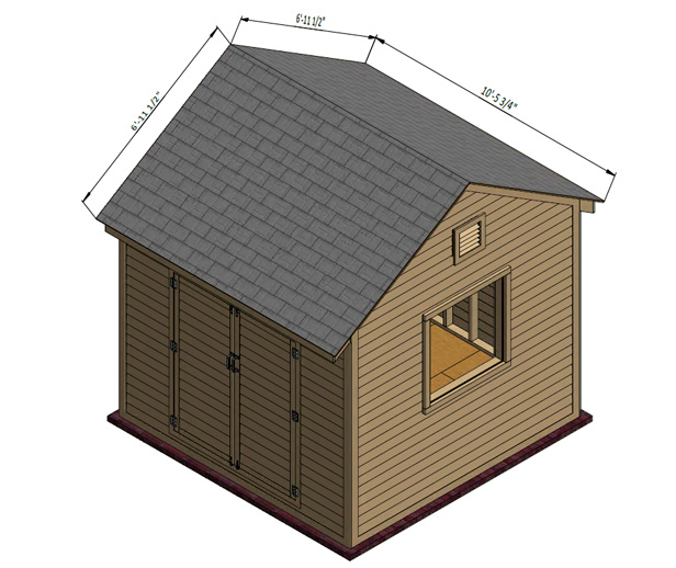 shed roof assembly with asphalt shingles