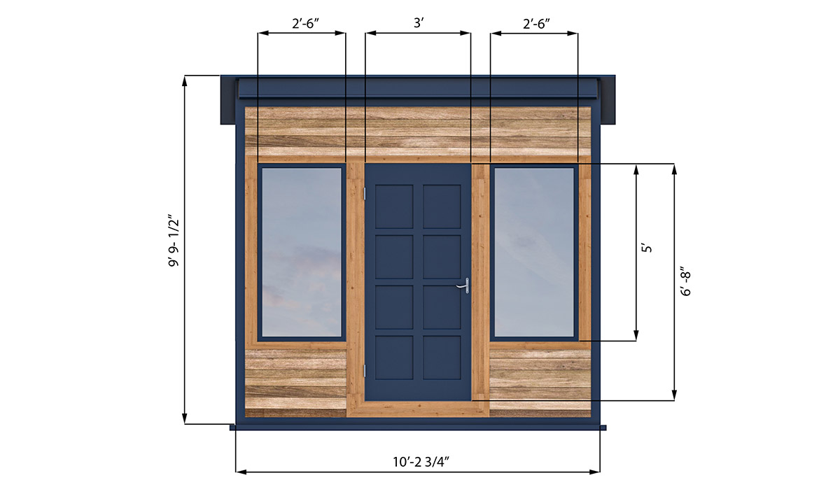10x10 office shed front side preview