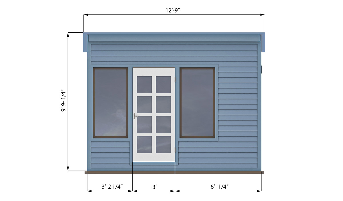 10x12 lean to office shed front side preview