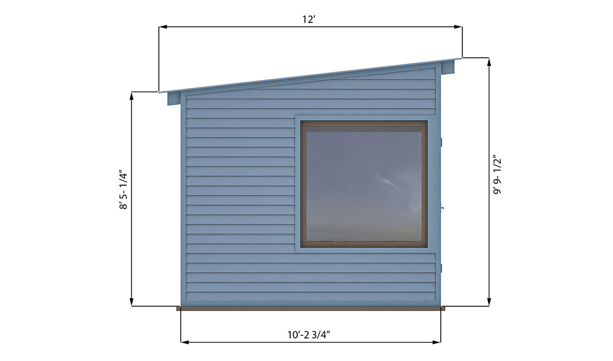 10x12 lean to office shed left side preview