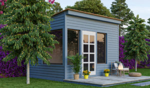 10x12 lean-to office shed in the backyard