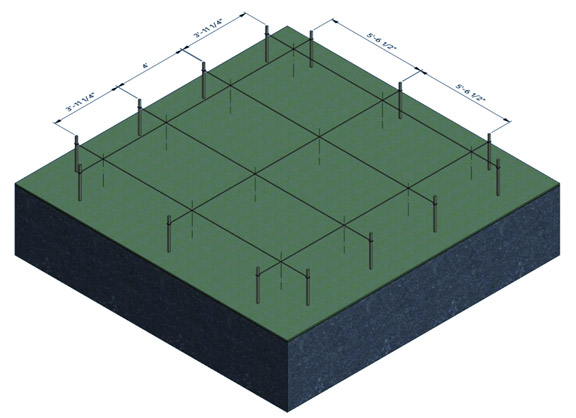 outline the perimeter of the shed