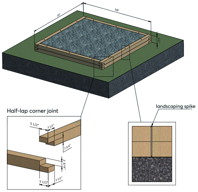 timber frame foundation with inner joists